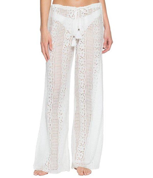 ベッカバイレベッカバーチュー レディース カジュアルパンツ ボトムス Becca By Rebecca Virtue Poetic Sheer Lace Side Slit Cover Up Pant White