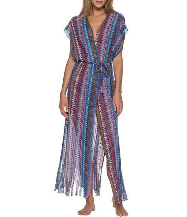 ベッカバイレベッカバーチュー レディース ワンピース トップス Wander Striped Sheer Crochet Kimono Cover Up Multi