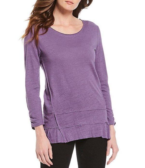ウエストバウンド レディース Tシャツ トップス 3/4 Ruched Detail Sleeve Linen Blend Ruffle Hem Top Grape Composite