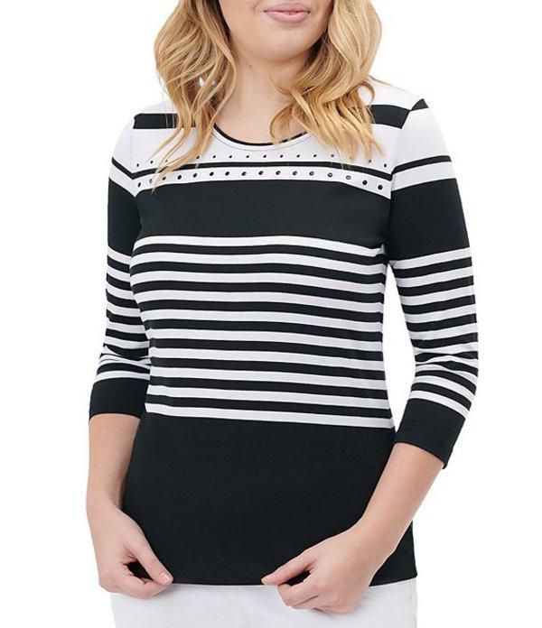 アリソン デイリー レディース Tシャツ トップス Stripe Knit Jersey 3/4 Sleeve Embellished Detail Cotton Blend Top Stripe Block