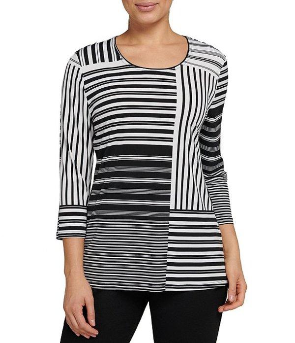 アリソン デイリー レディース Tシャツ トップス Striped Colorblock 3/4 Sleeve Knit Jersey Top Stripe Patch
