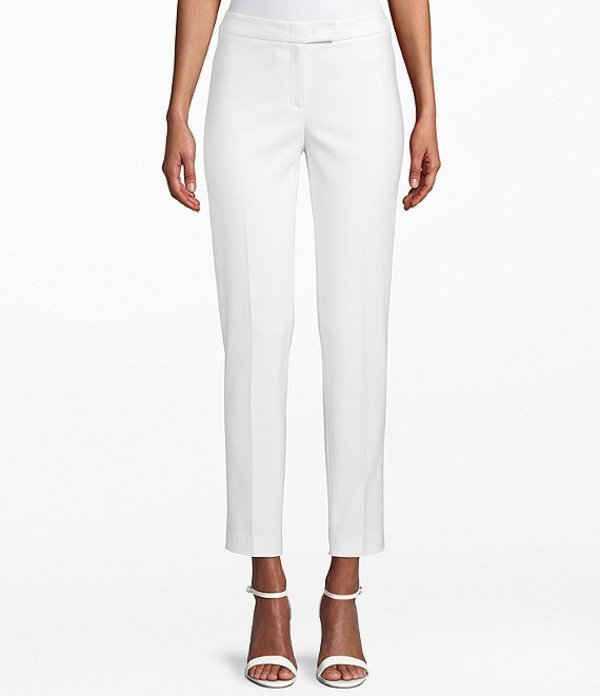 アンクライン レディース デニムパンツ ボトムス Cotton Double Weave Slim Straight Leg Pant White
