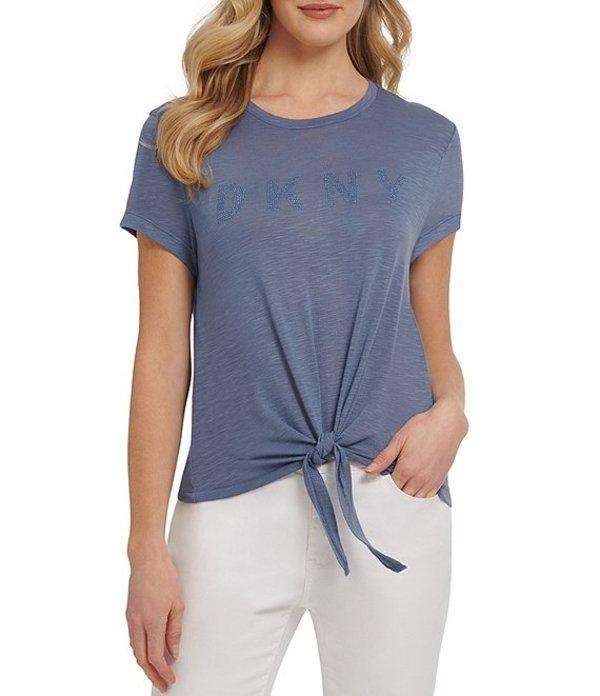 ダナ キャラン ニューヨーク レディース Tシャツ トップス Jeans Nail Head Logo Tie-Front Short Sleeve T-Shirt Bali Blue