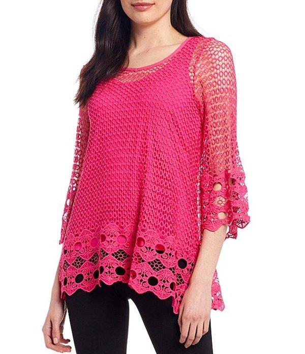 アリ マイルス レディース Tシャツ トップス Crochet Lace V-Neck 3/4 Sleeve Tunic Fuchsia