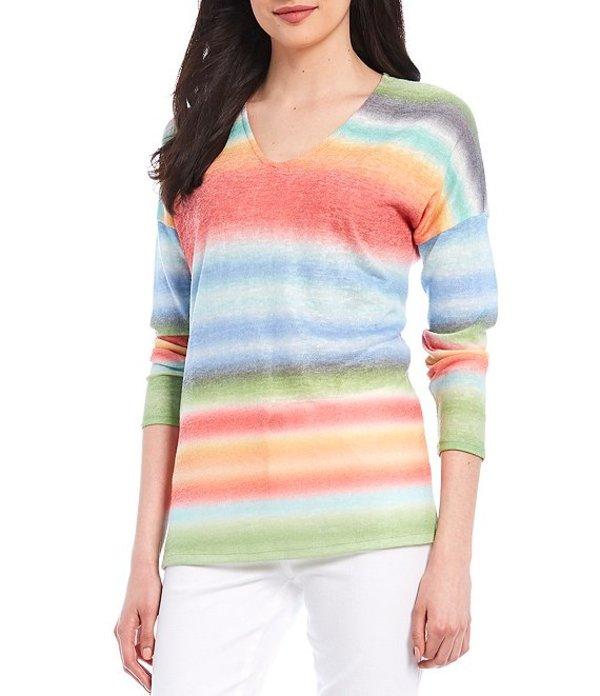 チェルシーアンドセオドール レディース Tシャツ トップス V-Neck Striped Drop Shoulder Sleeve Hacci Top Multi Stripe