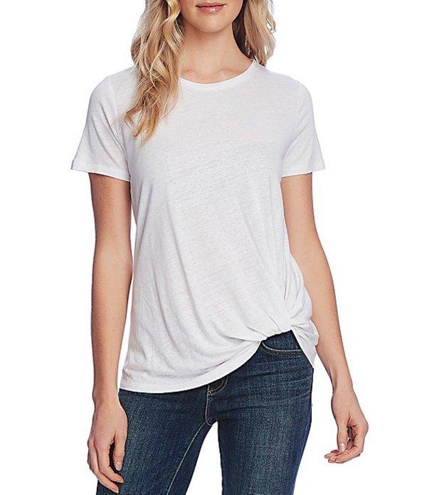 ヴィンスカムート レディース Tシャツ トップス Short Sleeve Twist Front Knit Linen Blend Tee Ultra White
