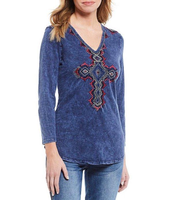 レバ レディース Tシャツ トップス Embroidered Cross V-Neck 3/4 Sleeve Cotton Tee Navy