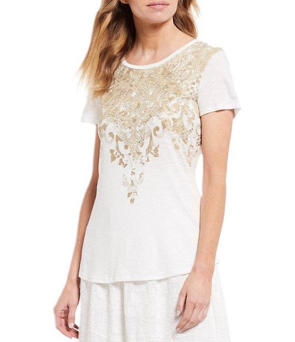 レバ レディース Tシャツ トップス Rhinestone Embellished Baroque Print Short Sleeve Slub Jersey Knit Cotton Blend Tee Ivory