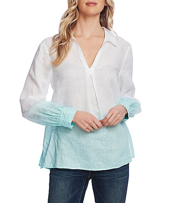 ヴィンスカムート レディース シャツ トップス Long Sleeve Collared Linen Ombre Top Ultra White