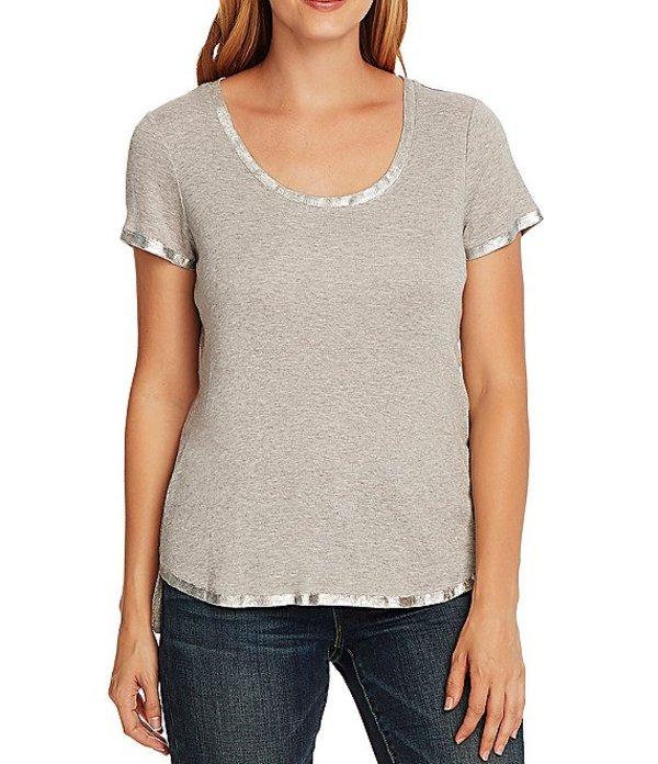 ヴィンスカムート レディース Tシャツ トップス Short Sleeve Foiled Trim Scoop Neck Tee Silver Heather