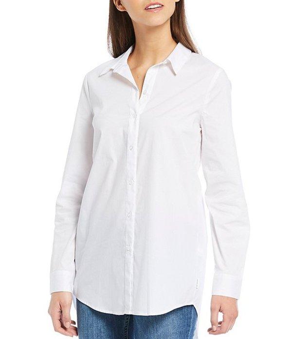 カルバンクライン レディース シャツ トップス Jeans Poplin Button Front Split Back Cotton Blend Shirt White