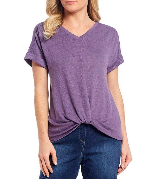 ウエストバウンド レディース Tシャツ トップス Twist Front V-Neck Short Sleeve Top Grape Composite