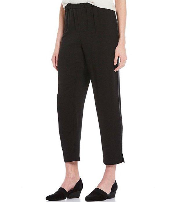 エイリーンフィッシャー レディース カジュアルパンツ ボトムス Silk Georgette Crepe Tapered Pant With Side Slits Black