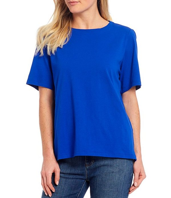 エイリーンフィッシャー レディース Tシャツ トップス Organic Cotton Jersey Crew Neck Short Sleeve Tee Royal