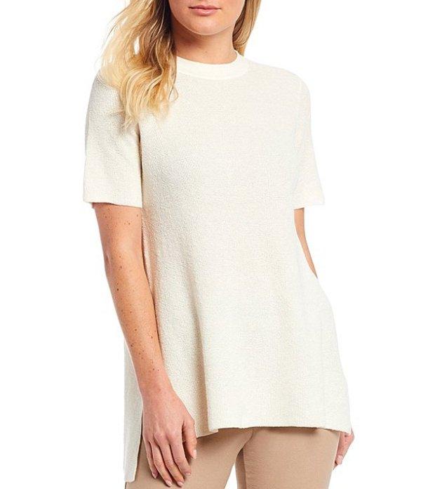 エイリーンフィッシャー レディース Tシャツ トップス Organic Linen Stretch Crepe Mock Neck Short Sleeve Tunic Ivory