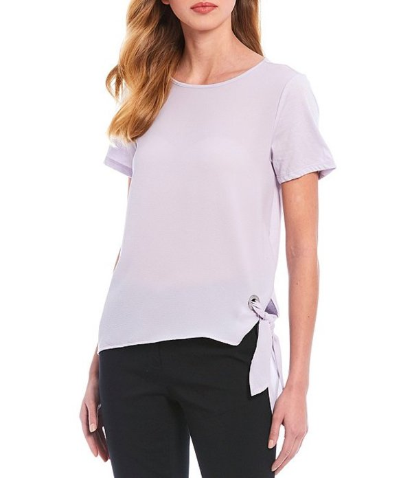 マイケルコース レディース Tシャツ トップス MICHAEL Michael Kors Solid Crew Neck Side Tie Short Sleeve Top Lavender Mist