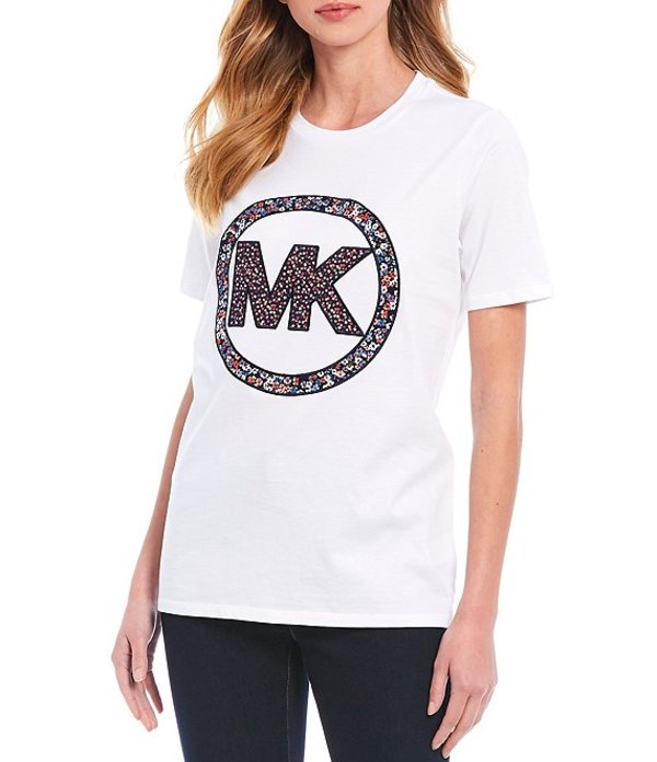 マイケルコース レディース Tシャツ トップス MICHAEL Michael Kors Knit Jersey Circle Logo Crew Neck Cotton Tee White