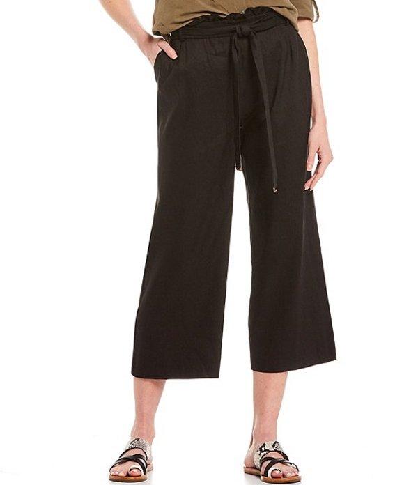 カルバンクライン レディース カジュアルパンツ ボトムス Stretch Linen Blend Belted Paperbag Waist Wide Leg Crop Pant Black