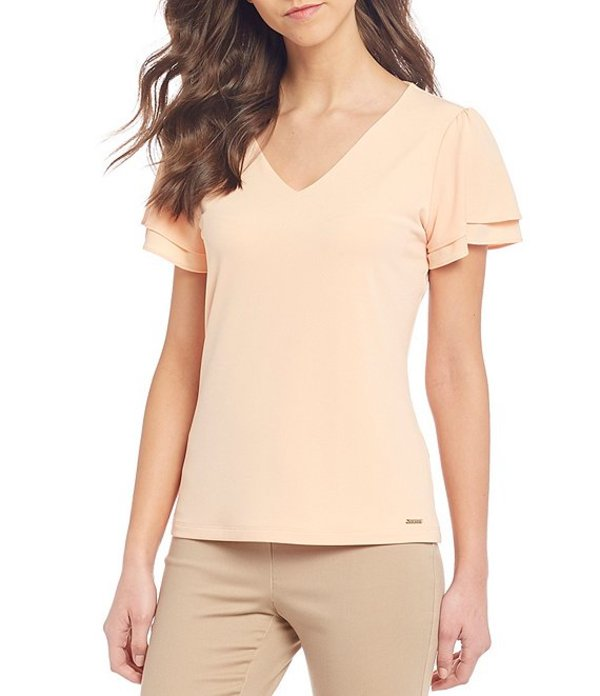 カルバンクライン レディース Tシャツ トップス Solid Matte Jersey V-Neck Double Tiered Short Sleeve Top Papaya