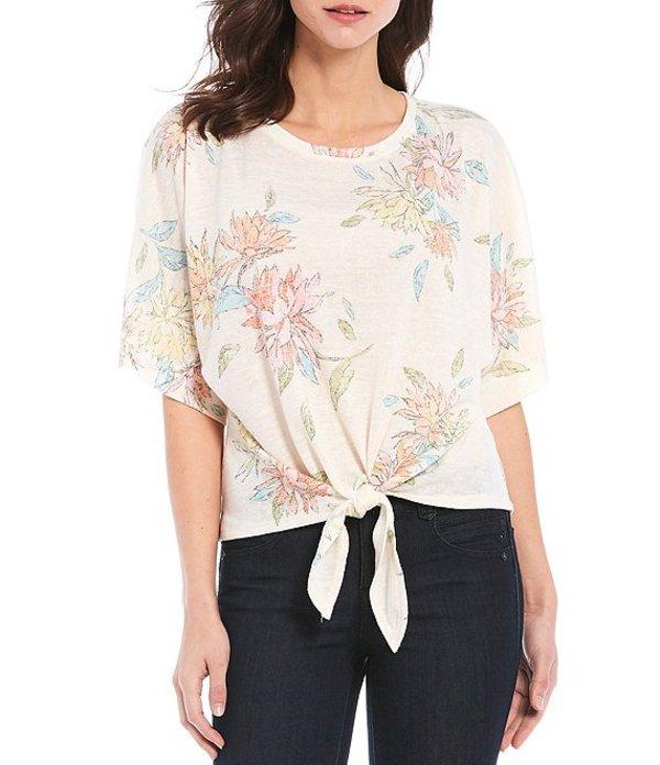 デモクラシー レディース Tシャツ トップス Floral Print Kimono Sleeve Tie Front Hem Knit Top Off White Multi