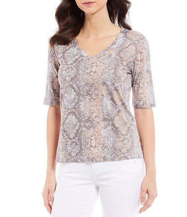 デモクラシー レディース Tシャツ トップス Snake Skin Print V-Neck Elbow Sleeve Linen Blend Tee Coral Misty Blue
