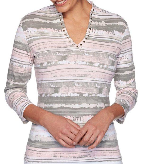ルビーアールディー レディース Tシャツ トップス Knit Brushy Stripe Embellished V-Neck 3/4 Sleeve Top Sage Multi