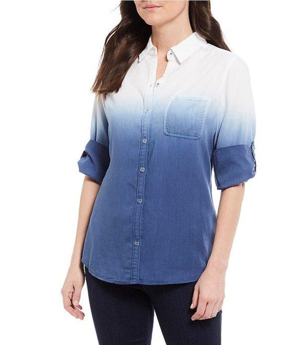 フォックスクラフト レディース シャツ トップス Terry Ombre Dip Dye Button Front Roll-Tab Sleeve Blouse Blue Multi
