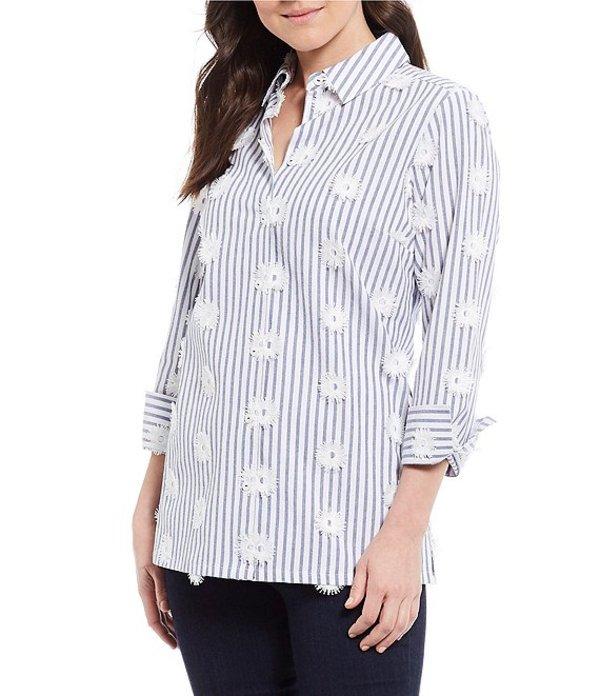 フォックスクラフト レディース シャツ トップス Libby Striped Embroidered Button Front Long Sleeve Tunic Malibu Blue