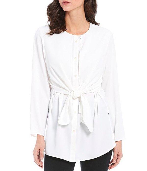ミソック レディース シャツ トップス Long Sleeve Button Front Tie Waist Blouse White