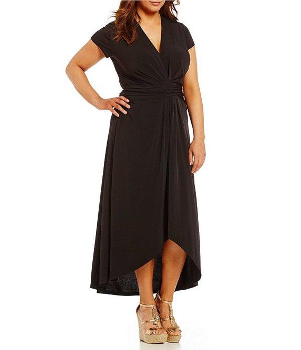 マイケルコース レディース ワンピース トップス MICHAEL Michael Kors Plus Faux-Wrap Style V-Neck Cap Sleeve Sash-Belt Hi-Low Dress Black