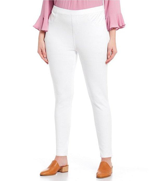 スパンク レディース カジュアルパンツ ボトムス Plus Size Jean Style Ankle Leggings White