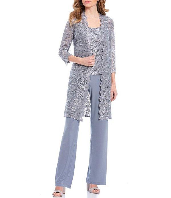 アールアンドエムリチャーズ レディース ワンピース トップス Petite 3-Piece Scalloped Glitter Lace Duster Stretch Pant Set Silver