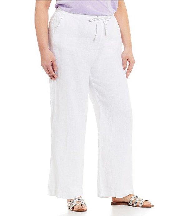 ヴィンスカムート レディース カジュアルパンツ ボトムス Plus Size Wide Leg Linen Pants Ultra White