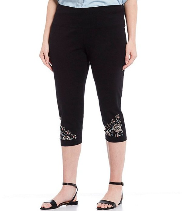 イントロ レディース カジュアルパンツ ボトムス Plus Size Teri Novelty Embellished Hem Capri Leggings Ebony Black