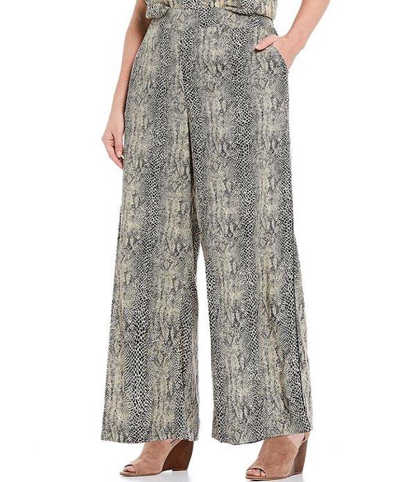 ジェシカシンプソン レディース カジュアルパンツ ボトムス Plus Size Sayde Snake Skin Print Pull-On Wide Leg Pants Gardenia/Snake Skin Print