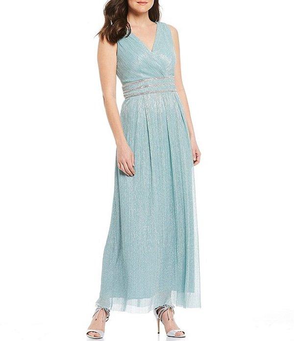 アールアンドエムリチャーズ レディース ワンピース トップス Petite Size Pleated V-Neck Sleeveless Metallic Gown Seafoam
