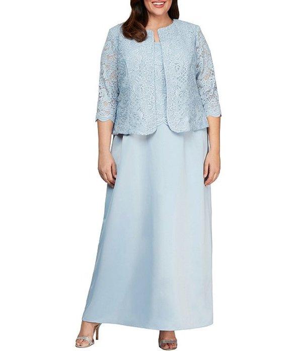 アレックスイブニングス レディース ワンピース トップス Plus Size Glitter Lace 2 Piece Jacket Dress Hydrangea