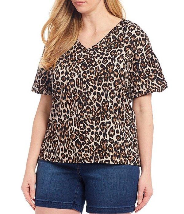 ウエストバウンド レディース Tシャツ トップス Plus Size Neutral Leopard Print Short Sleeve V-Neck Cotton Blend Tee Neutral Animal