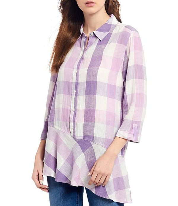 ウエストバウンド レディース カットソー トップス Petite Size Plaid Roll Sleeve Asymmetric Popover Tunic Broad Plaid