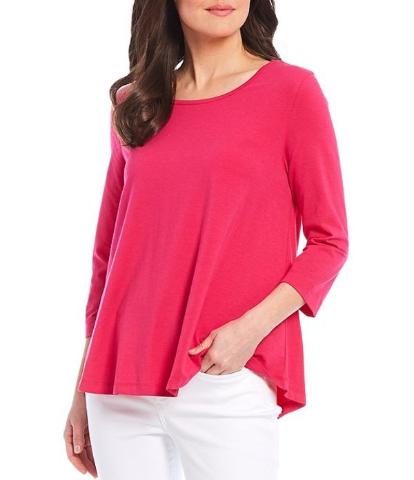 マルチプルズ レディース Tシャツ トップス Petite Size Scoop Neck Cotton Blend 3/4 Sleeve Hi-Low Swing Top Bright Fuchsia