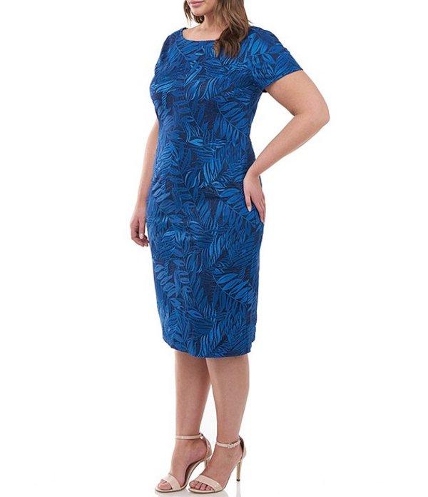 ジェイエスコレクションズ レディース ワンピース トップス Plus Size Boat Neck Embroidered Mesh Cocktail Dress Admiral Blue