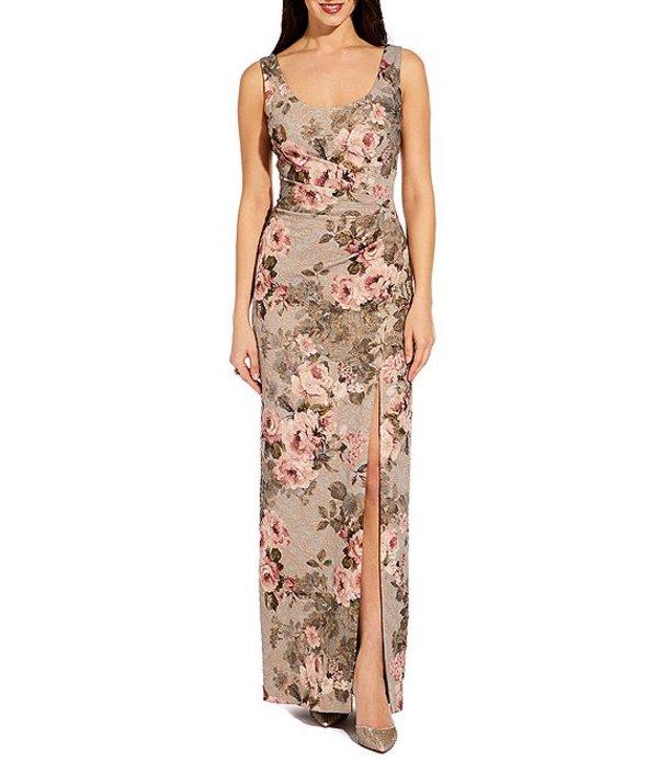 アドリアナ パペル レディース ワンピース トップス Petite Size Scoop Neck Sleeveless Ruched Floral Print Column Gown Slate Blush Multi