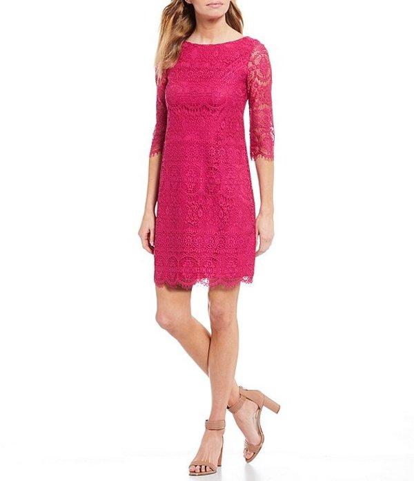 ジェシカハワード レディース ワンピース トップス Petite Size Scalloped Lace Sheath Dress Fuchsia