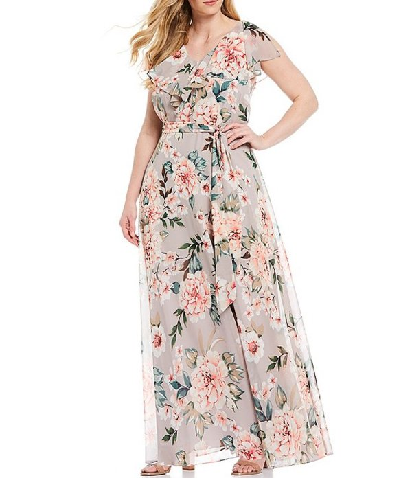 エリザジェイ レディース ワンピース トップス Plus Size V-Neck Tie Waist Floral Ruffle Maxi Dress Grey