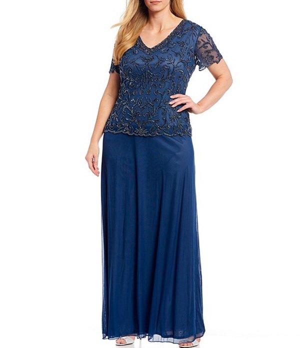 ピサッロナイツ レディース ワンピース トップス Plus Size Mock Two Piece Beaded Illusion Short Sleeve Gown Coastal Blue