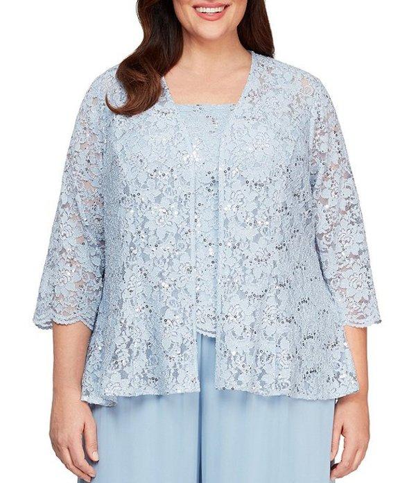 アレックスイブニングス レディース ワンピース トップス Plus Size Sequin Lace Peplum Twinset Hydrangea