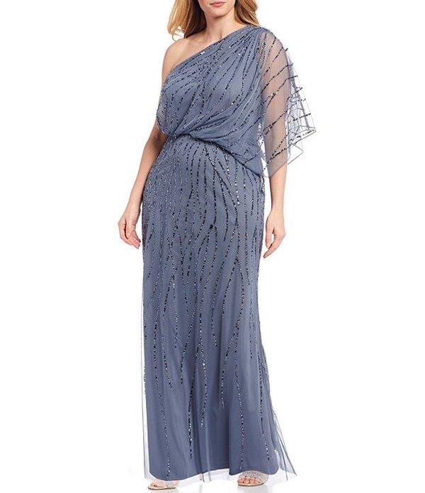 アドリアナ パペル レディース ワンピース トップス Plus Size One Shoulder Beaded Gown Dusty Blue