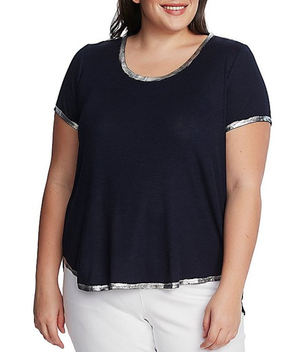 ヴィンスカムート レディース Tシャツ トップス Plus Size Short Sleeve Foiled Trim Scoop Neck Tee Night Navy