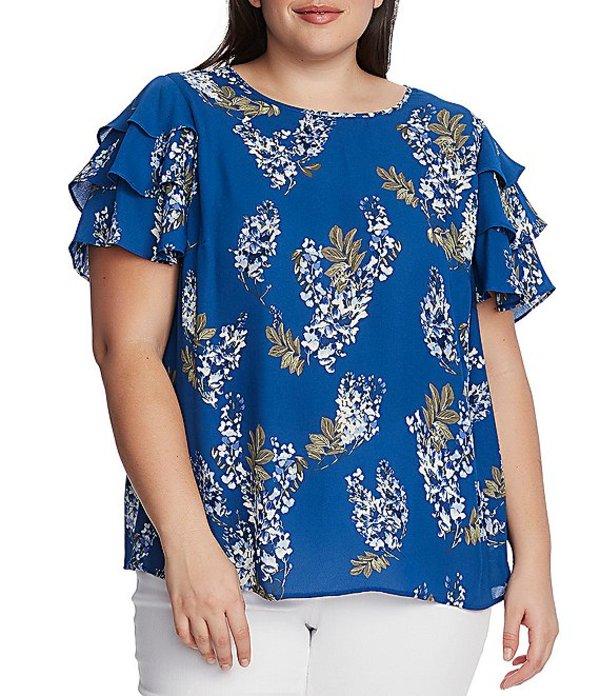 ヴィンスカムート レディース シャツ トップス Plus Size Tiered Short Sleeve Floral Print Blouse Dusk Blue
