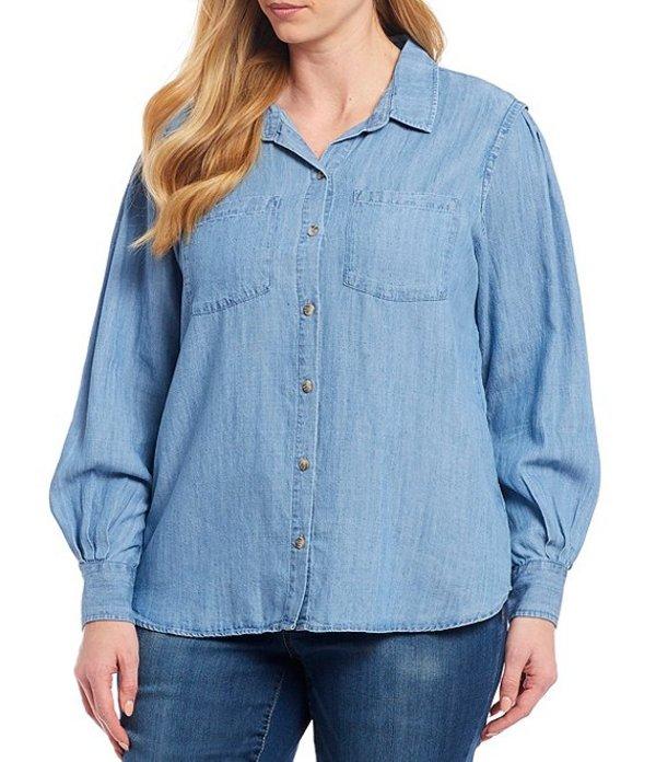デモクラシー レディース カットソー トップス Plus Size Long Blouson Sleeve Button Front Tencel Shirt Light Blue